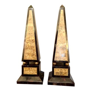 Pair of Maitland-Smith Tessellated Shell and Marble Obelisks For Sale