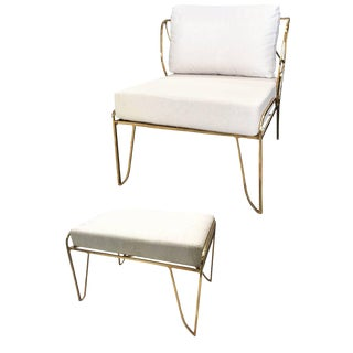 Brass Hand-Sculpted Armchair and Stool, Lena, Misaya For Sale