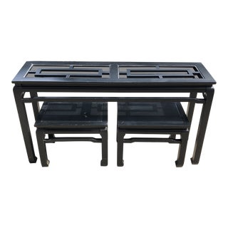 1970s Chinoiserie Ebonized Ming Table With Matching Side Stools - 3 Pieces For Sale