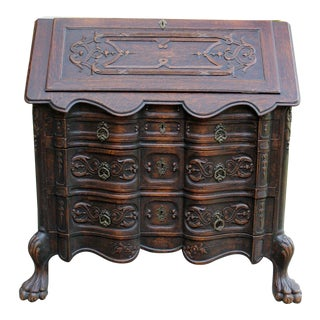 Antique English Oak 19th Century Gothic Fall Front Secretary Desk Paw Feet For Sale