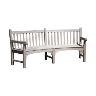 Country Casual Vintage Solid Teak Long Curved Patio Bench For Sale