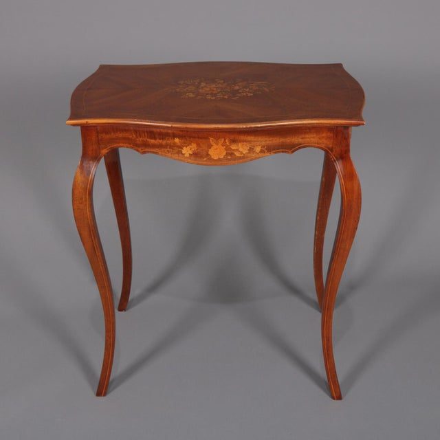 Wood 1900s French Marquetry, Mahogany With Satinwood Inlay For Sale - Image 7 of 13