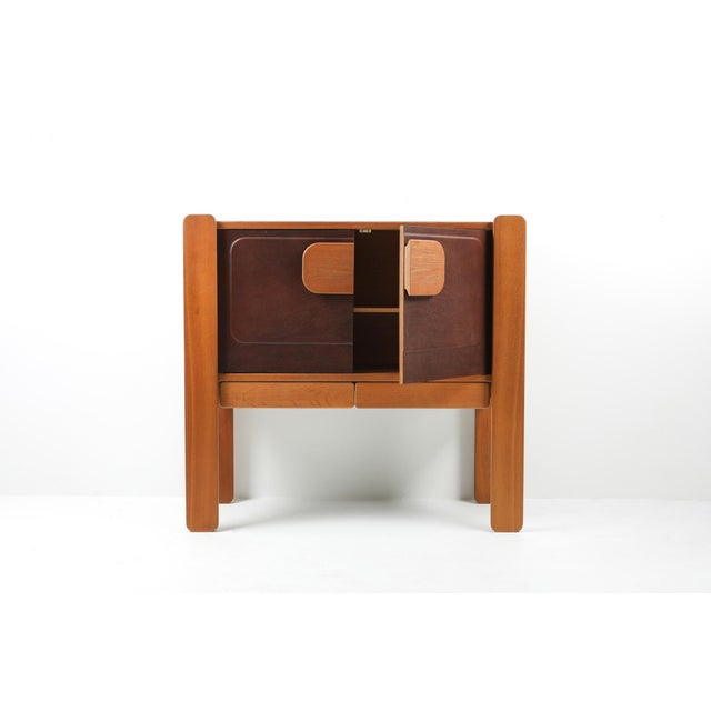 Walnut and Leather Postmodern Cabinet For Sale - Image 4 of 8