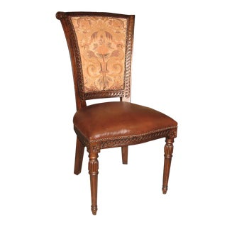 Brown Leather Scroll Captains Side Dining Chair For Sale