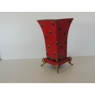 Red and Gold Tall Cachepot With Fleur-De-Lis Design Preview