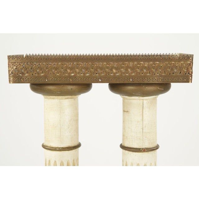 Vintage French Louis XVI Style Marble Top Twin Column Pedestal - Image 8 of 10