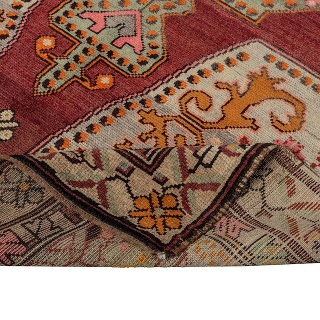 Vintage Red Turkish Area Rug 4'x7' For Sale - Image 4 of 5
