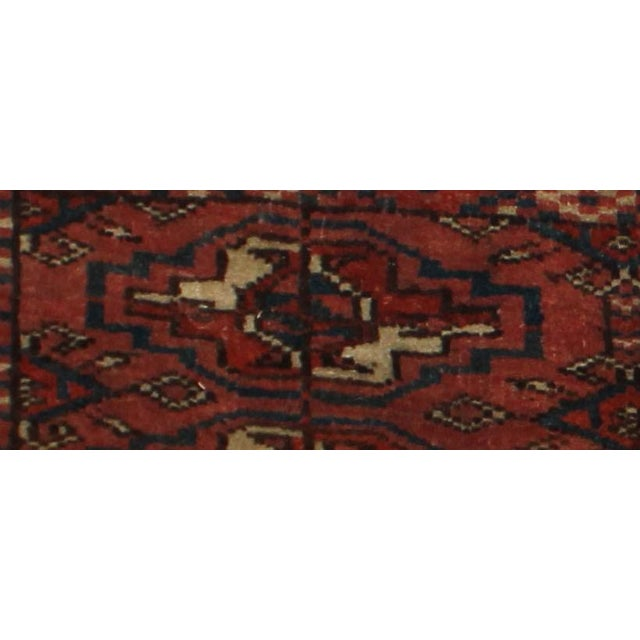 "Antique Hand Knotted Turkmen Yomut Rug - 1'3"" x 3'3"" For Sale - Image 4 of 5"