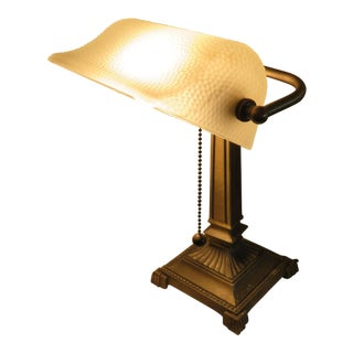 Vintage Mid-Century Frosted Textured Glass Updated Wiring Brass Base Bankers Lamp