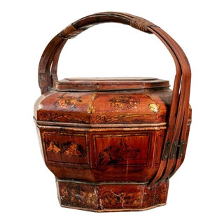 Small Antique Hand-Made Chinese Wedding Basket For Sale