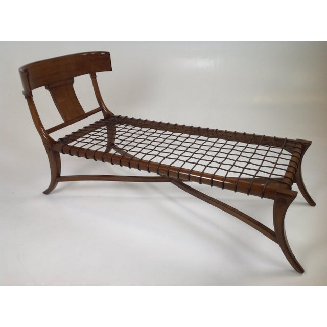 2010s Mid Century Modern Style Klismos Chaise Lounge For Sale - Image 5 of 5