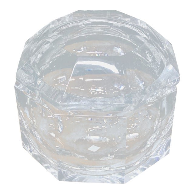 1970's Vintage Lucite Ice Bucket & Attache Swing Lid For Sale