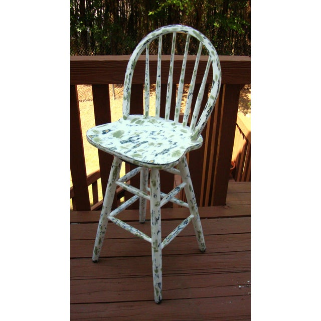 Country Cottage Hand Painted Distressed Bar Stool - Image 2 of 11