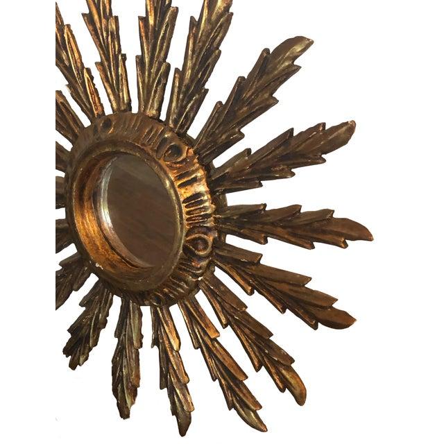 Mid-Century Modern Mid Century French Giltwood Sunburst Mirror For Sale - Image 3 of 7