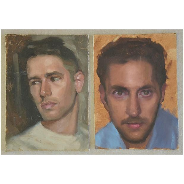 Blue Pair Vintage Attractive Male Portrait Oil Painting Study - Set of 2 For Sale - Image 8 of 8