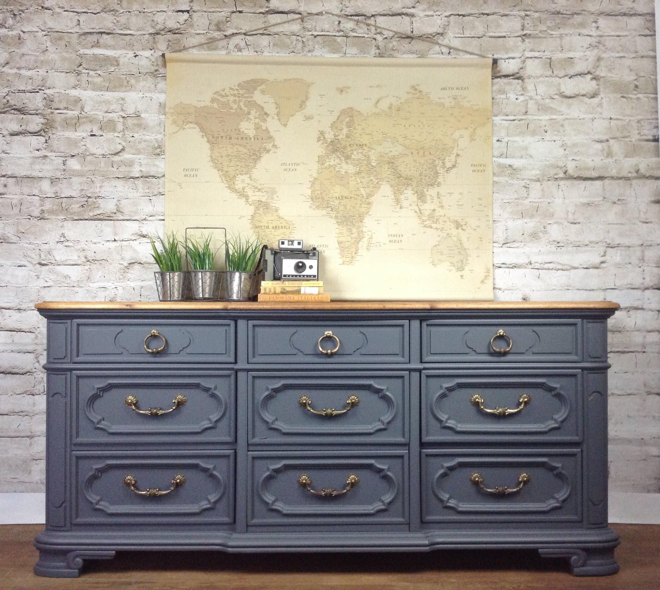 Charming Vintage Thomasville Gray Dresser Buffet French Country Rustic Modern  Farmhouse Bathroom Vanity Media Console   Image