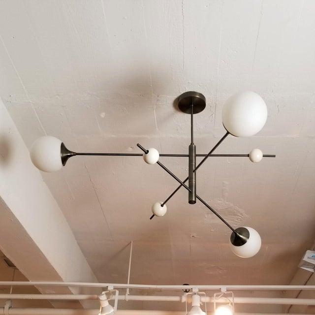 Contemporary Blueprint Sculptural Enamel, Glass & Bronze Orbital 3-Arm Pendant For Sale - Image 3 of 12