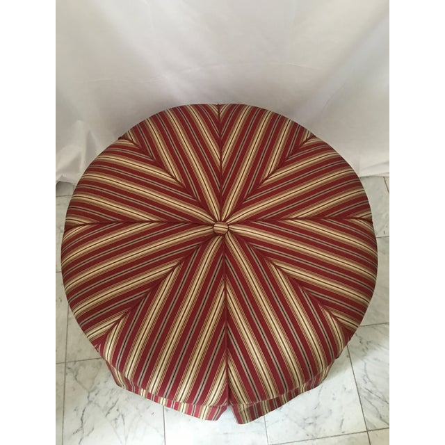 Traditional Traditional Round Stripe Upholstered Pleated Skirt Ottoman For Sale - Image 3 of 7
