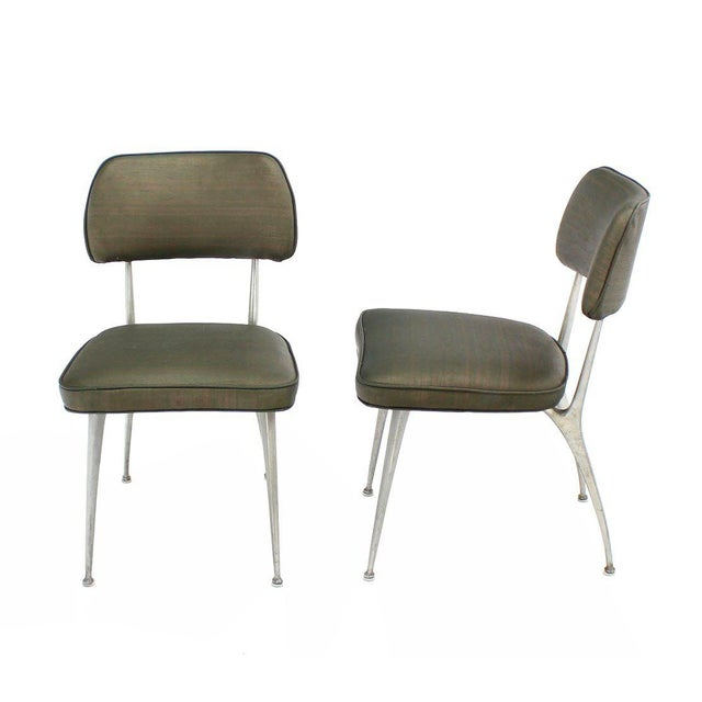 Mid-Century Modern Set of Six Cast Aluminum Dining Chairs For Sale - Image 3 of 7
