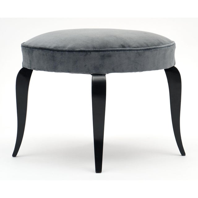 Blue Art Deco Period Gray Velvet Stools - a Pair For Sale - Image 8 of 10