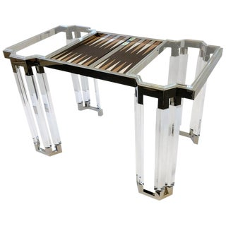 Lucite and Polish Nickel Backgammon Table by Charles Hollis Jones For Sale