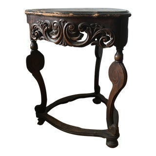 Antique Carved 3 Sided Triangular Accent Table For Sale