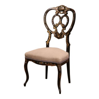 19th Century Black Lacquered and Gilt Chair With Mother of Pearl Decor For Sale
