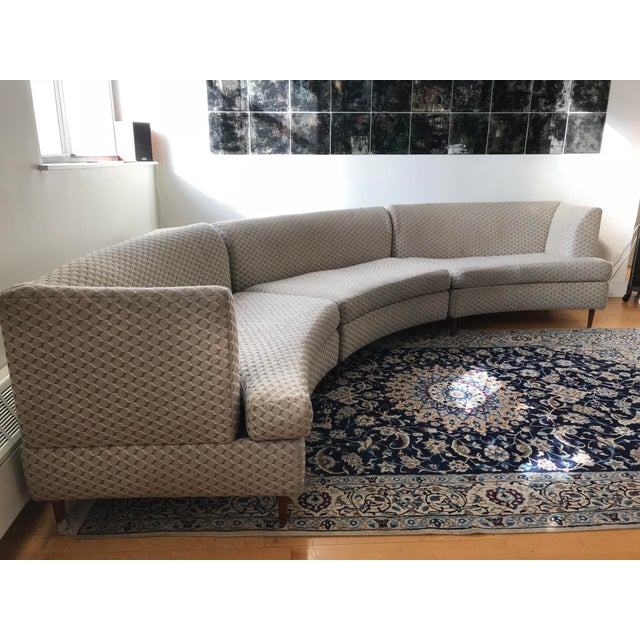 Fabulous three-piece curved party sofa. This sofa is in nice vintage condition with age appropriate wear. The upholstery...