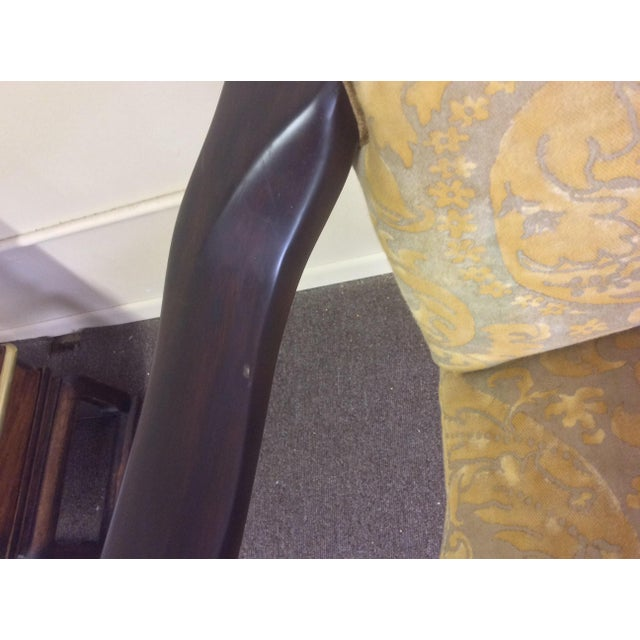 Brown English Style Arm Chairs With Fortuny Upholstery - a Pair For Sale - Image 8 of 12