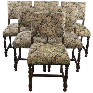 Dining Chairs Renaissance 1930 Set 6 Oak Green - Set of 6 For Sale