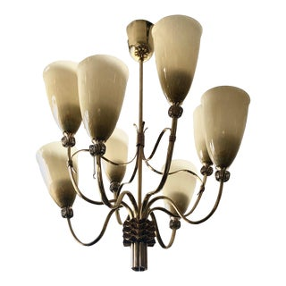 1950s Brass and Blown Glass Chandelier by Paavo Tynell For Sale