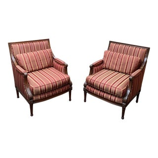 Custom Empire Style Bergere Arm Chairs - a Pair For Sale