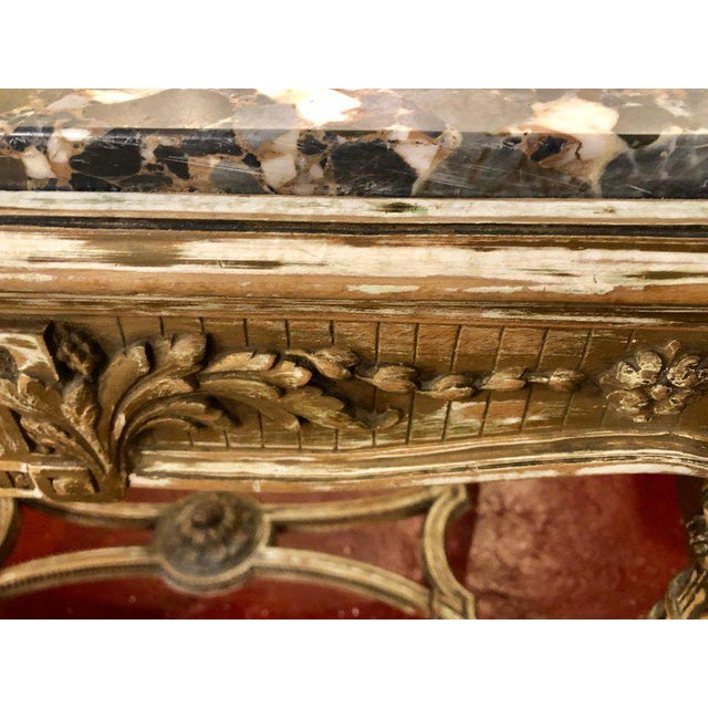 Gold Louis XVI Style Distressed Paint Decorated 19th Century Marble Top Center Table For Sale - Image 8 of 12