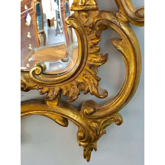 Gold Pair of Louis XV Style Gilt Wall Console or Pier Mirrors With Beveled Glass For Sale - Image 8 of 12