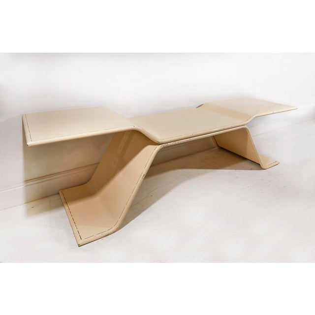 Stunning pale cream enamelled metal architects table commissioned by named architects Dolveck and Mestoudjian, in Dijon,...