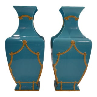 Decorative Bamboo & Turquoise Vases - a Pair For Sale