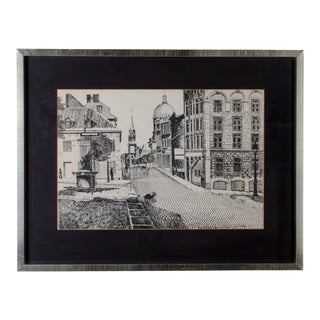 Rue St. Paul Vieax, Montreal Pen and Ink Drawing For Sale