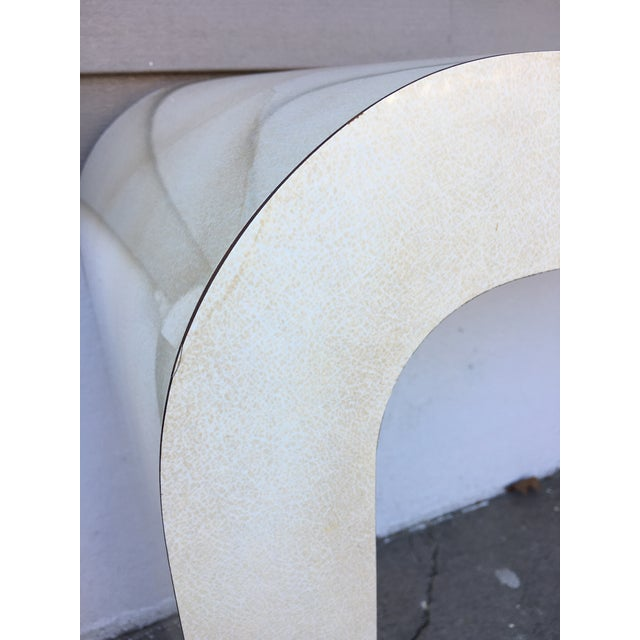 Karl Springer 1980s Contemporary Goat Skin Waterfall Console Table For Sale - Image 4 of 11
