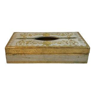 Vintage Wooden Italian Florentine Tissue Box Cover For Sale