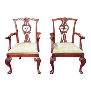 Baker Furniture Chippendale Style Chairs- A Pair For Sale