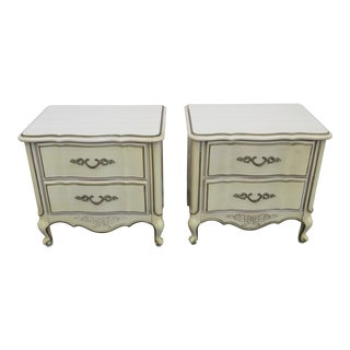 French Painted Nightstands Side Tables by American of Martinsville - a Pair For Sale