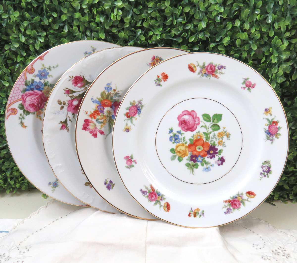 Vintage Mismatched Fine China Dinner Plates - Set of 4 - Image 7 of 8 & Vintage Mismatched Fine China Dinner Plates - Set of 4 | Chairish