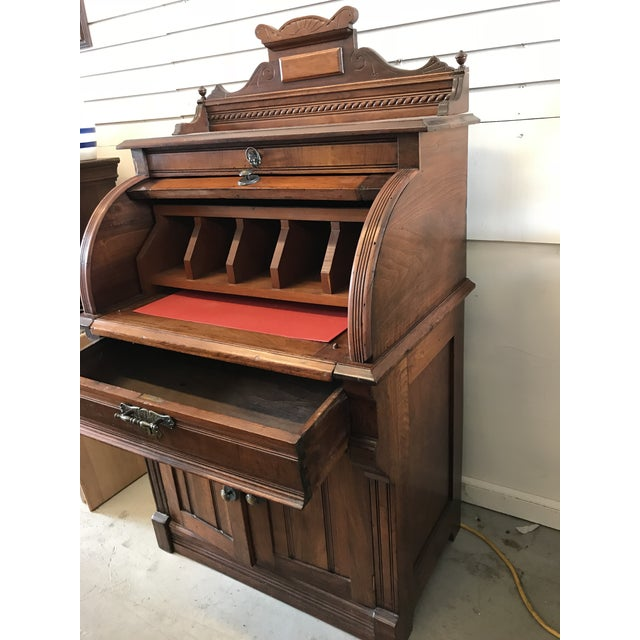 American Classical 19th Century American Classical Cylinder Rolltop Secretary Desk For Sale - Image 3 of 13