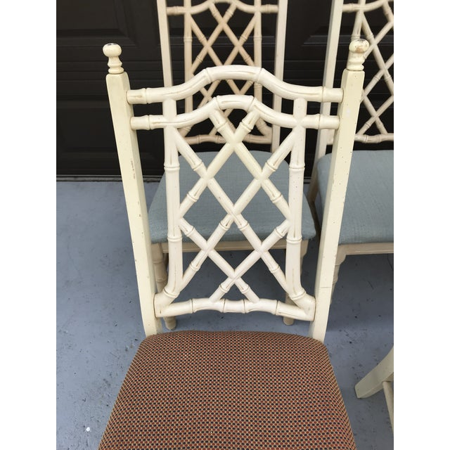 Wood 1960s Vintage Chinoiserie Faux Bamboo Dining Chairs- Set of 8 For Sale - Image 7 of 10