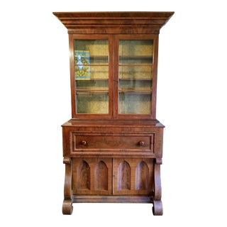 19th Century American Empire Mahogany Veneer Secretary Desk For Sale