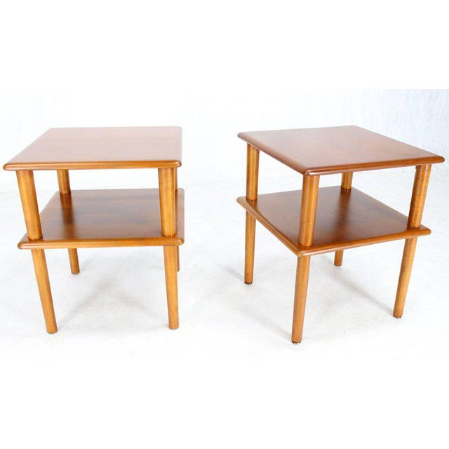 Conant Ball Pair of Square Solid Maple Two-Tier End Side Tables For Sale - Image 4 of 7