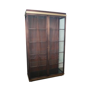 Design Institute of America (DIA) Large 2 Door Coppertone & Brass Display Curio Cabinet For Sale