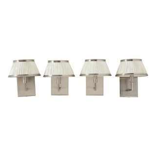 Nickel Wall Sconces With White Pleated Shades - Set of 4 For Sale