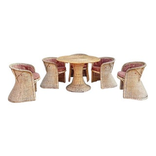Sculptural Wicker Dining Chairs + Tulip Table, Set of 6 For Sale