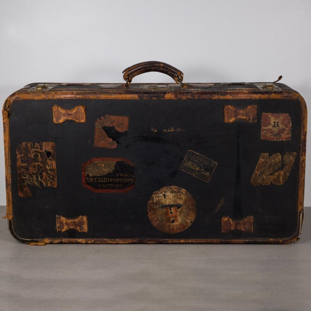 Antique Luggage With Original Travel Stickers C.1900-1930 For Sale - Image 9 of 11